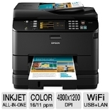 Epson WorkForce Pro WP-4540 C11CB32201 All-In-One Inkjet Color Printer - Print, Scan, Copy, Fax, - Up to 16ppm Mono/11ppm Color, 4800 x 1200dpi, 580 Sheets, USB, 802.11 b/g/n WiFi, 10/100 Ethernet